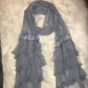 Beautiful Blue Scarf with Roses and Sheer Material